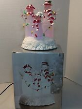 """JCPENNEY HOME COLLECTION 7"""" LIGHT UP ACRYLIC SNOWMAN FAMILY IN BOX COLOR CHANGIN"""