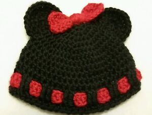 916ebe1d7a2 Image is loading Hand-Crocheted-Minnie-Mouse-Baby-Hat-Black-and-
