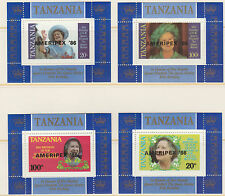 Tanzania 5095 - 1985 QUEEN MOHER   AMERIPEX set of 4 perf deluxe sheets u/m