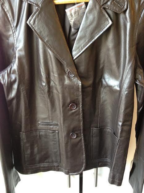 Women's Genuine Leather Blazer, Dark Brown, Size Size Size 10, New With Tags d04484