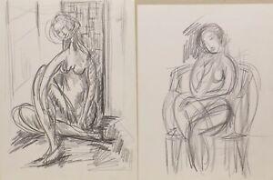 2-Quadri-034-Donne-Studien-Nudo-034-Blei-Firmare-Write-Up-Calix-Paris-Francia