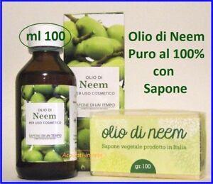 OLIO DI NEEM PURISSIMO 100 ml con Sapone Acne..Dermatite...Psoriasi