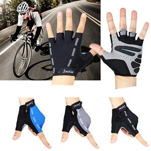 Hommes-Femmes-Sports-Course-Cyclisme-Velo-de-montagne-Velo-Gel-moitie-doigt-Gants-S-M-L