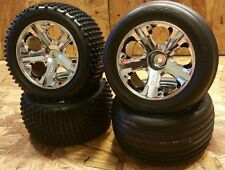 NEW Traxxas 1/10 Rustler VXL XL5 Front & Rear Chrome All-Star Wheels with Tires