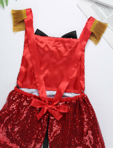 Girls Children The Greatest Show Ringmaster Fancy Dress Sequined Circus Costumes