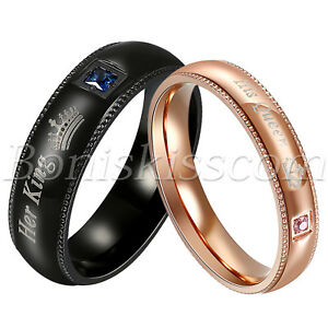 Couples-Stainless-Steel-CZ-His-Queen-Her-King-Ring-Wedding-Engagement-Charm-Band