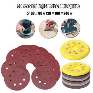 50-Pcs-125mm-5-034-60-240-GRIT-Sandpaper-Sanding-Sheet-8-Hole-Pads-W-Motor-Plat