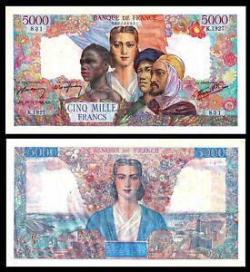 FRANCE-5000-Francs-1946-034-Belin-Rousseau-amp-Favre-Gilly-034-P-103c-XF