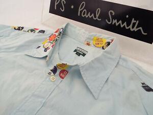 Paul-Smith-Camisa-para-hombre-Talla-XL-Pecho-48-034-RRP-95-Raro-Pin-Insignia-de-impresion