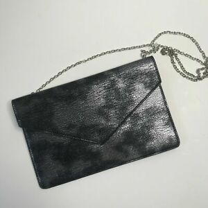 Francescas-Silver-Gunmetal-Leather-Crossbody-Handbag-Envelope-Clutch-Metallic