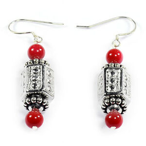 Red-Crystal-925-Sterling-Silver-Earrings-Handcrafted-Bead-Jewellery-UK-Gift-Idea
