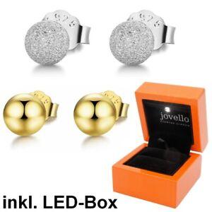 Kugel-Ball-Perlen-Ohrstecker-aus-925-Sterlingsilber-silber-gold-inkl-LED-Box