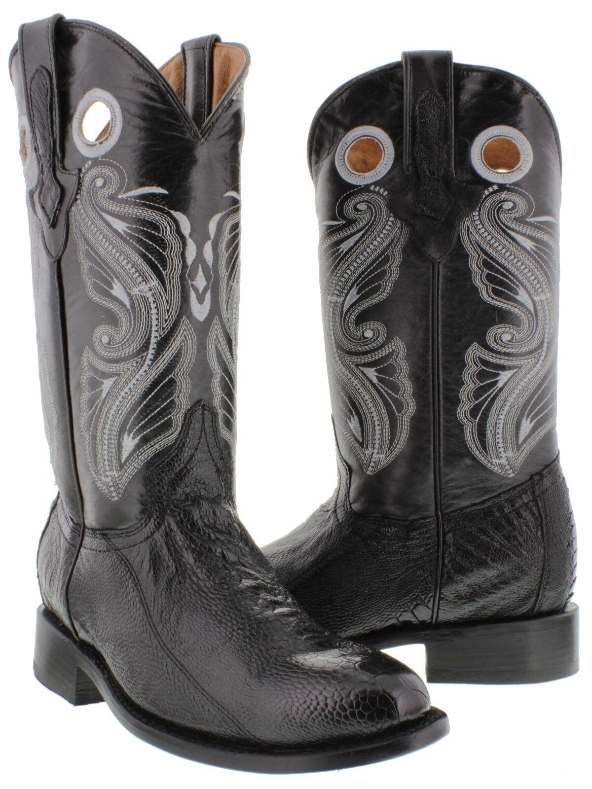 Men's Black Genuine Ostrich Skin Western Rodeo Cowboy Leather Boots Roper Toe