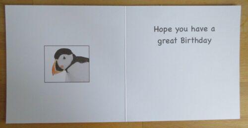 Animal Birthday Greeting Card Puffin Fun words 6x6 Can Personalise