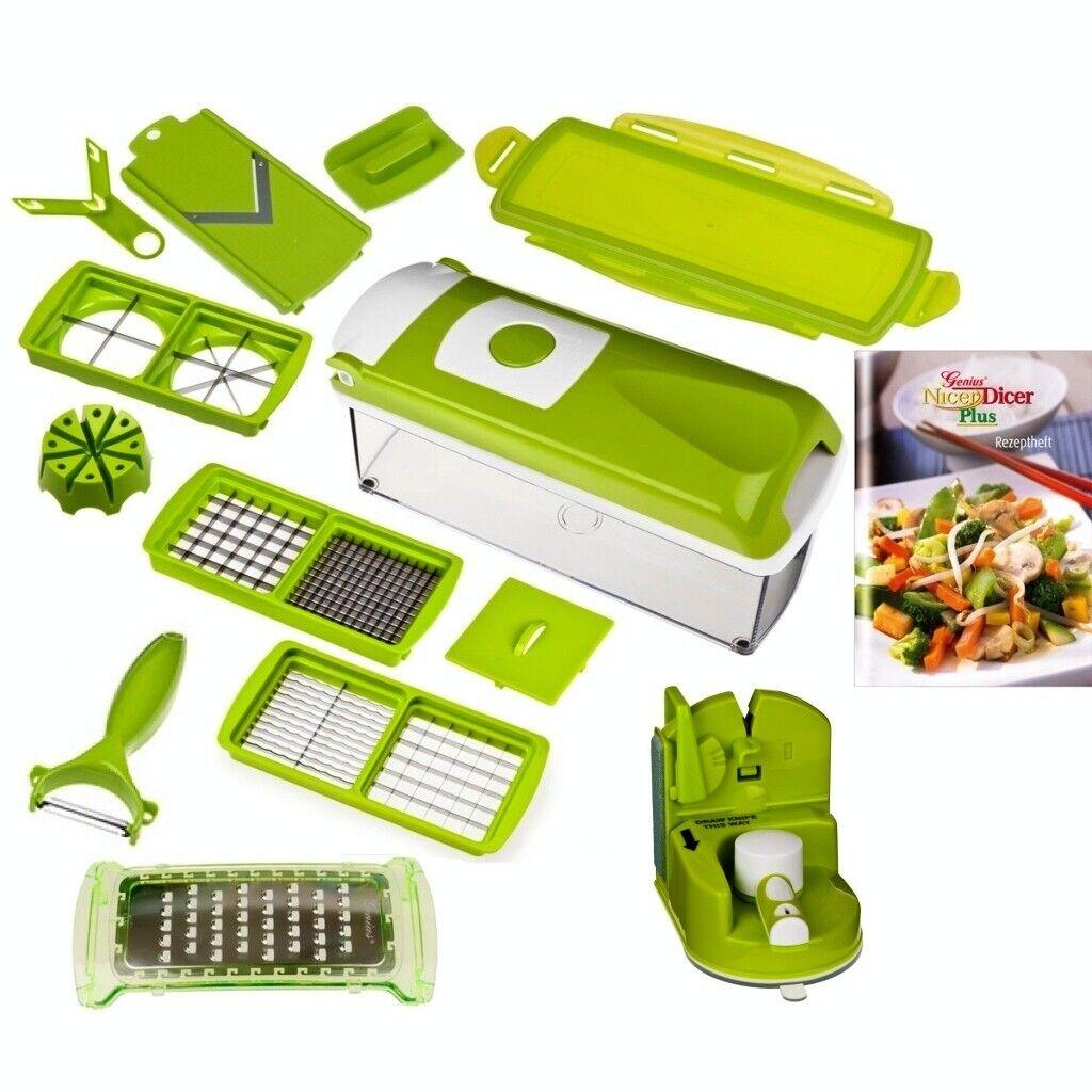 Genius-nicer dicer plus légumes tailleur vert + couteau plus sexy 14 pièces