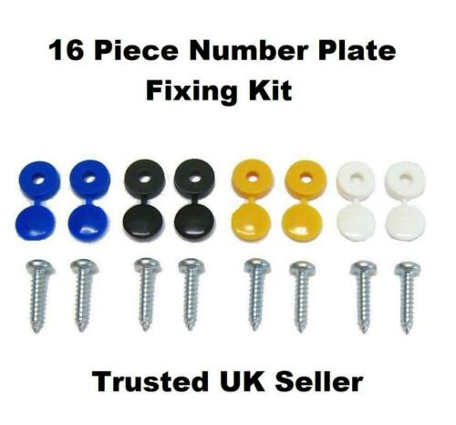 "Number Plate Fixing Kit with Black Yellow White Blue Cover Caps and 3//4/"" Screws"