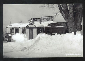 REAL PHOTO SEARSBURG VERMONT DINER RESTAURANT WINTER SNOW POSTCARD COPY