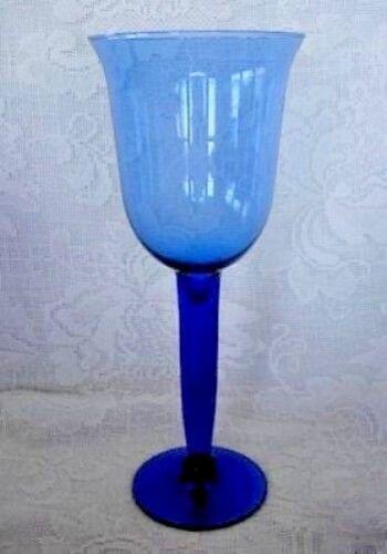 """Set of 4 Tall 8 3//4/"""" Cobalt Blue Blown Solid Glass Stemmed Wine Goblets"""