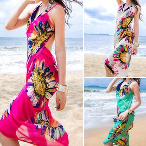 Women Chiffon Beach Sarong Wrap Swimwear Bikini Cover Up Skirt Bandeau Dress TBN