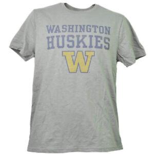 NCAA-Washington-Huskies-Mens-Adult-Tshirt-Tee-Short-Sleeve-Crew-Neck-Gray-Sports