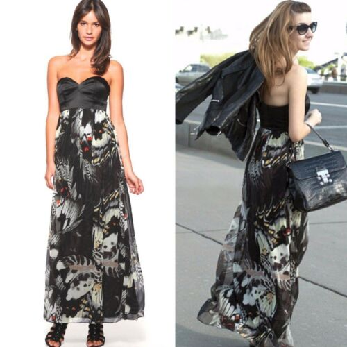 Silk Millen Corset Maxi Black Dress Strapless Long Butterfly Karen Size Print Uk 65Uxqnaww