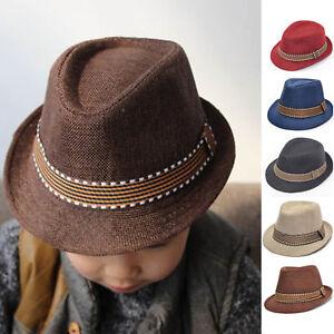 4755e42da67fd Kids Cap Girl Boy Hat Toddler Kid Fedora Hat Jazz Cap Sun ...