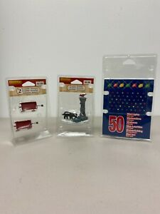 Lemax Village Accessories Lot Red Wagons Dog Fountain 50 Mini Multicolor Lights