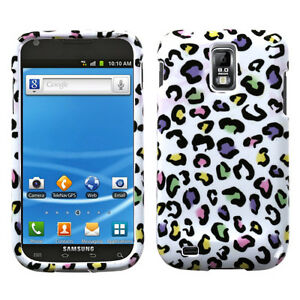 For-T-Mobile-Samsung-Galaxy-S-II-2-HARD-Case-Phone-Cover-White-Rainbow-Leopard