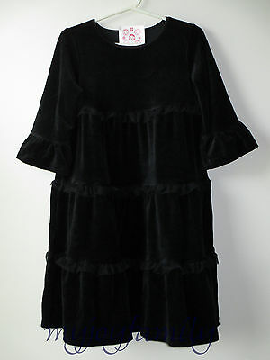 HANNA ANDERSSON Love to Twirl Tiered Velour Dress Black 100 4T 4 NWT