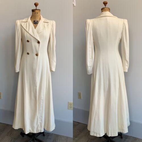 Stunning Vintage 1930's Ivory Princess Coat Full L