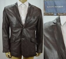 Banana Republic Leather Blazer Sport Coat Men's Size 40 R 2 Button Brown