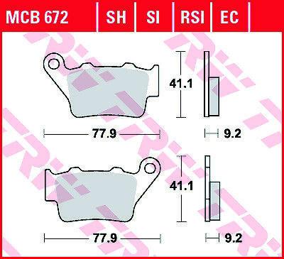 TRW SH Sinter Street Rear Brake Pads MCB672SH BMW HP4 1000 ABS 2012-2014