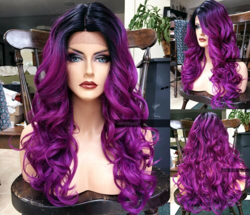 USA: Wavy Ombre Purple HEAT SAFE Lace Front DARK ROOT Curly Blue Wig