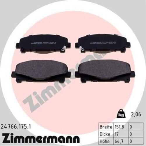 Zimmermann Pastiglie Pinza Freno Set Pastiglie Freni Anteriore 24766.175.1