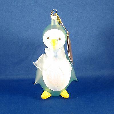 Pier 1 Imports - Baby's 1st Christmas 2014 Ornament - Blue Italian Glass Penguin