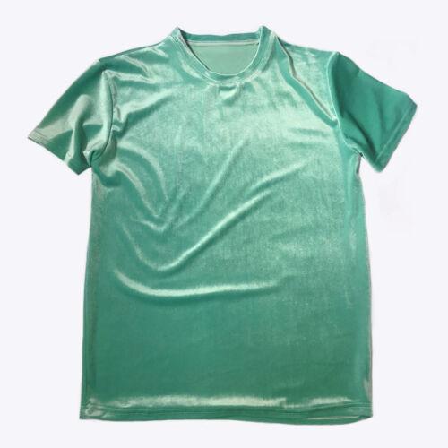 Men Women Unisex Velvet Short Sleeve T-Shirt Crew Neck Top Tee Shirts Streetwear