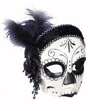 Day of the Dead Half Mask Dia de los Muertos Sugar Skull Costume Accessory Beads