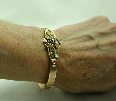 1911 Beautiful 9ct Rose Gold Amethyst and Seed Pearl Bangle in its Hinged  Box