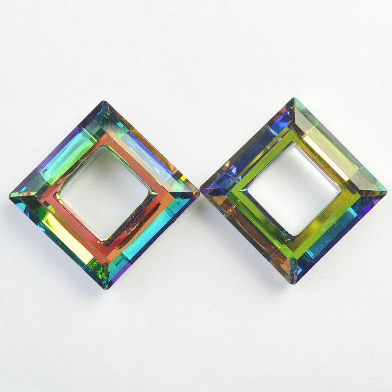 44x44x12mm 2Pcs Faceted Multicolor Crystal Flower Diamond Pendant Bead NN784