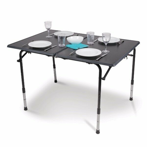 Kampa Hi-Lo PRO Large Premium Folding Camping Table with Adjustable Legs