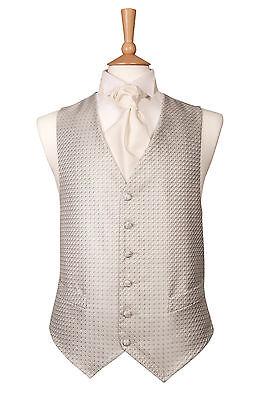 MENS SILVER GREY DIAMOND CHECK 1860 WEDDING DRESS SUIT VEST WAISTCOAT ALL SIZES