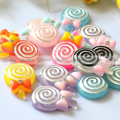 DIY New Cabochons Crafts Flower Lollipop Resin Flatback Scrapbooking Cute