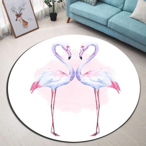 Nice Watercolor Flamingos Round Carpet Bedroom Area Rugs Living Room Floor Mat