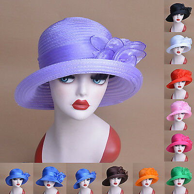 Womens Organza Bowler Bucket Cloche Wedding Church Bridal Mother's Hat A267
