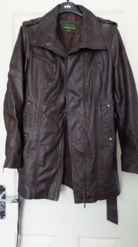 Coat Leather Ladies M Brown Size YfYEAq