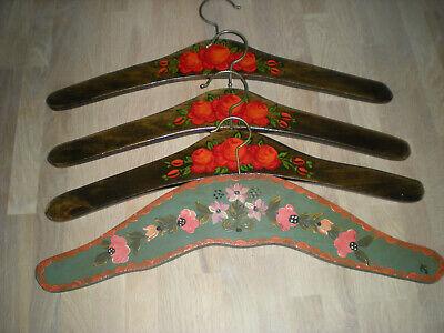 4 Kleiderbügel Garderoben Bügel Handbemalt Hochglanzpoliert