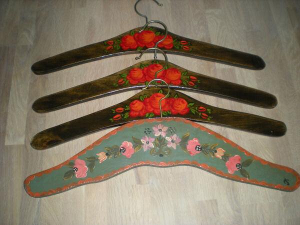 4 Kleiderbügel Garderoben Bügel Handbemalt