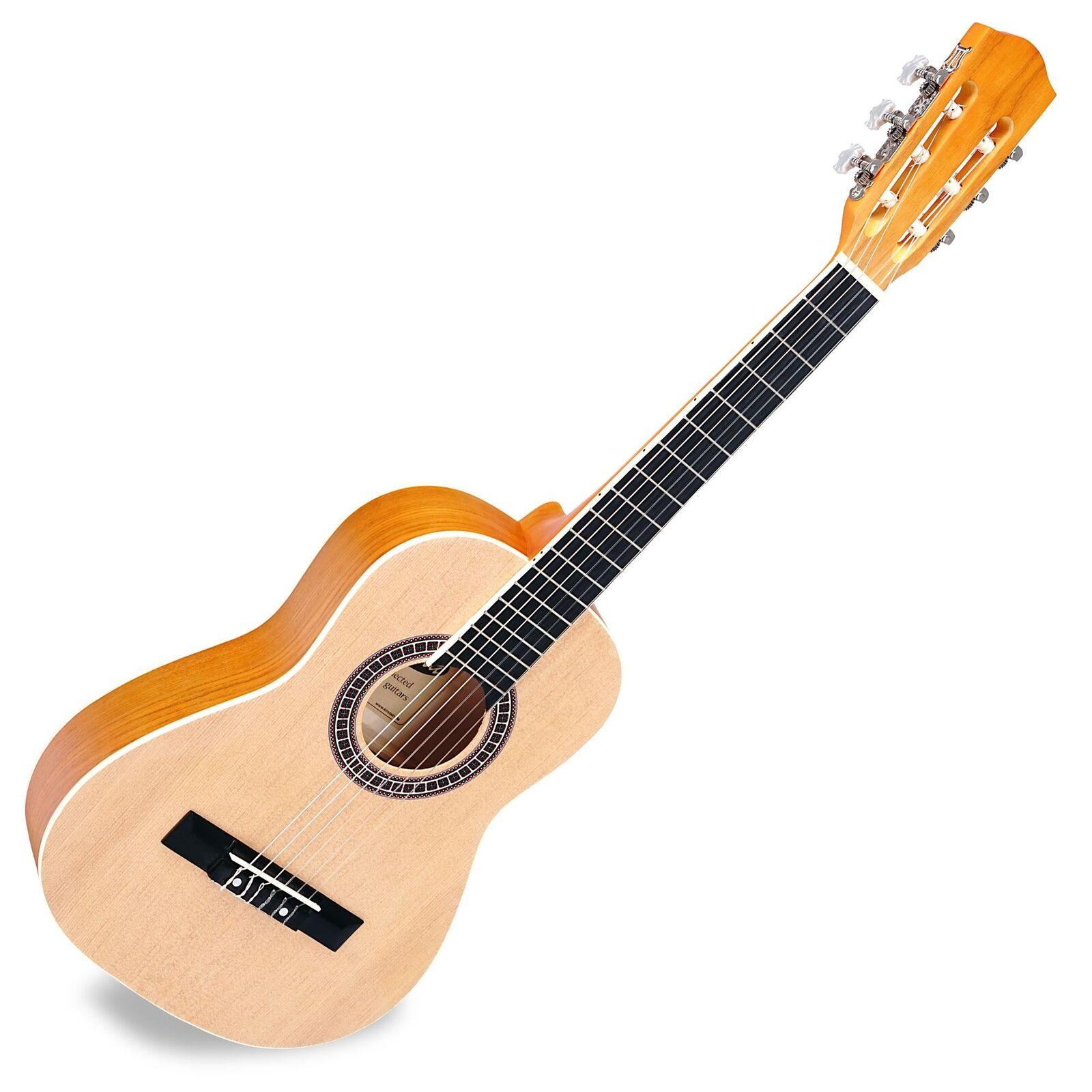 Classic Guitar Acoustic Concert Beginner Guitars 6 Nylon Strings Größe 1 2 Ecru