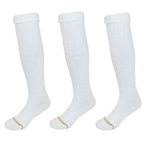 New Gold Toe Girl/'s Cable Knit Knee High Uniform Socks Pack of 6
