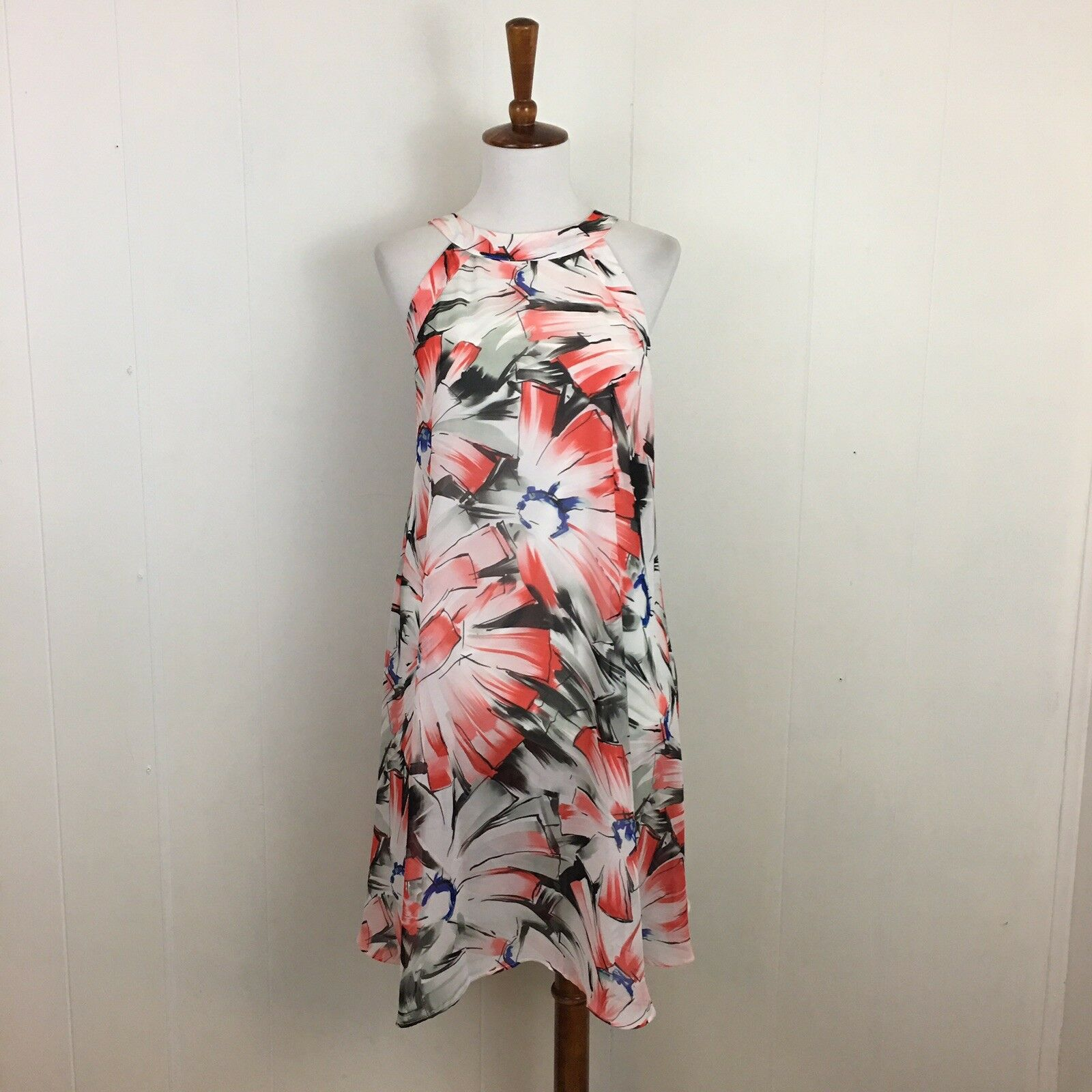 Betsey Johnson Multicolor Floral Halter Sleeveless Shift Mini Dress Size 6